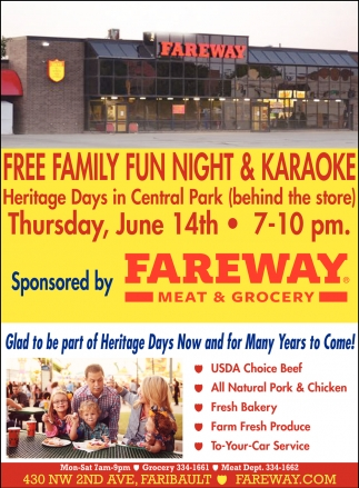 Free Family Fun Night & Karaoke, Fareway Food Stores, Owatonna, MN