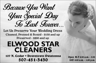 Let Us Preserve Your Wedding Dress, Elwood Star Cleaners, Owatonna, MN