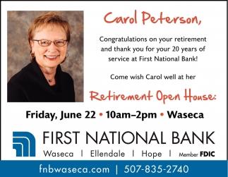 Carol Peterson Retirement