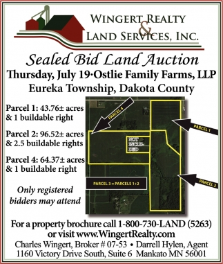 Sealed Bid Land Auction, Wingert Realty Land Services, Inc, Mankato, MN