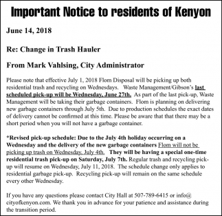 Notice to residents of Kenyon