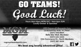 Go Teams! Good Luck!