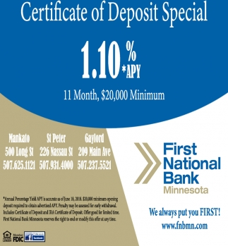 certificate of deposit special, first national bank of minnesota, st