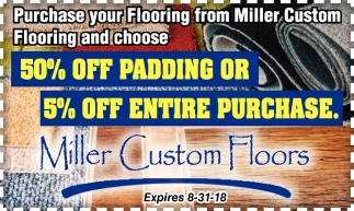 50% off padding or 5% off entire purchase