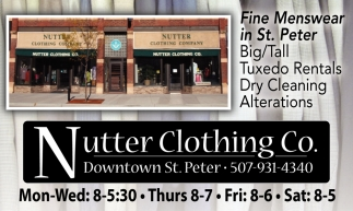 Fine Menswear in St. Peter, Nutter Clothing Co, St. Peter, MN