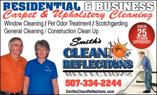 Carpet & Upholstery Cleaning, Smith's Clean Reflections, Faribault, MN