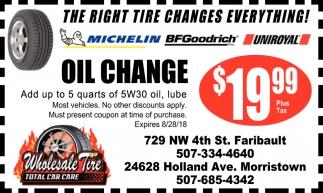 Oil Change 19 99 Wholesale Tire Faribault Mn
