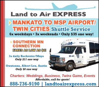 MANKATO TO MSP AIRPORT/ TWIN CITIES