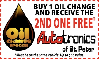 Buy 1 oil change and receive the 2nd one free