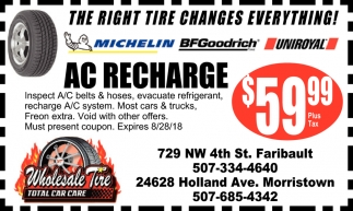 Ac Recharge $59 99, Wholesale Tire, Faribault, MN