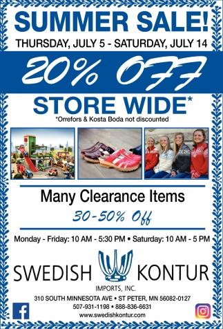 Summer Sale 20% off storewide