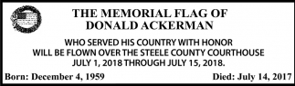 Memorial Flag of Donald Ackerman