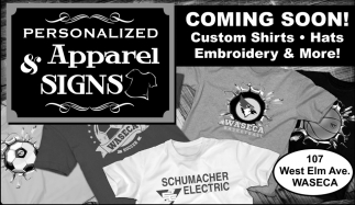 Custom Shirts, Hats, Embroidery, Personalized Apparel & Signs, Waseca, MN