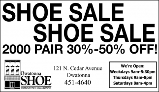 Shoe Sale 30% - 50% off, Owatonna Shoe Downtown Owatonna, Owatonna, MN