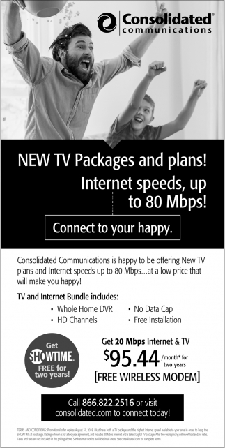 New Tv Packages and Plans!, Consolidated Communications, MN