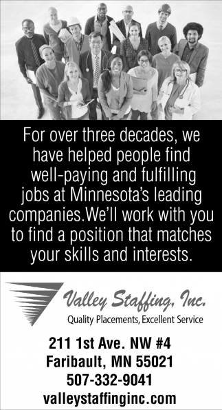 Quality Placements, Excellent Services, Valley Staffing , Lakeville, MN