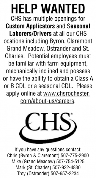 help wanted , chs