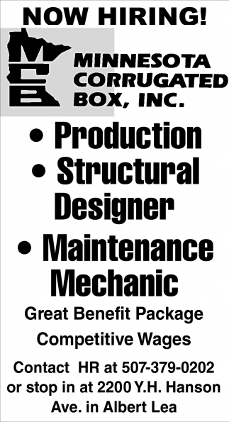 Now hiring!, Minnesota Corrugated Box