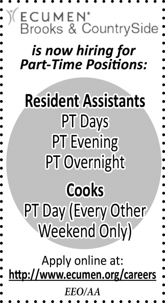 Resident Assistants, Cooks