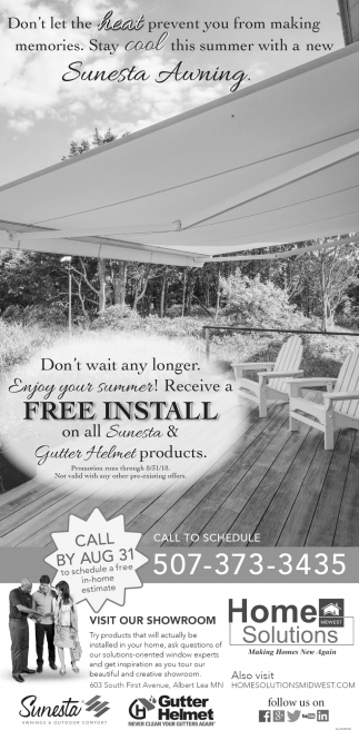 Receive a Free Install on all Sunesta & Gutter Helmet products, Home Solutions Midwest, Albert Lea, MN