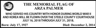 Memorial Flag of Arza Palmer