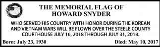 Memorial Flag of Howard Snyder