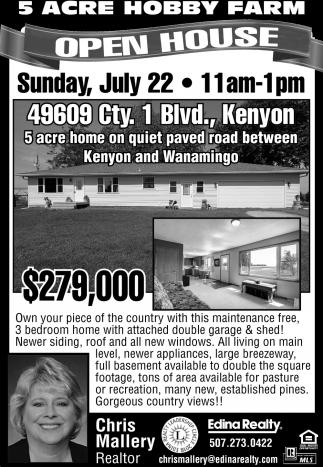 49609 Cty. 1 Blvd., Kenyon Open House