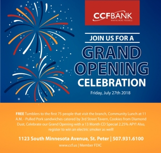 Grand opening celebration Friday july 27th 2018