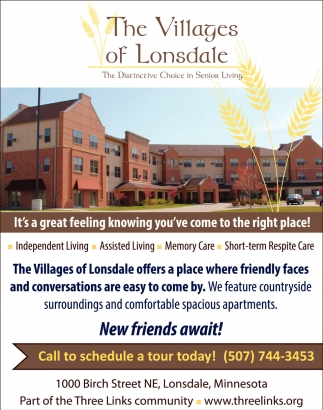 The distinctive choice in senior living, The Villages Of Lonsdale, Northfield, MN