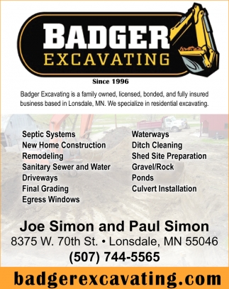 Specialize in residential excavating, Badger Excavating