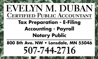 Certified Public Accountant , Evelyn M. Duban, Lonsdale, MN