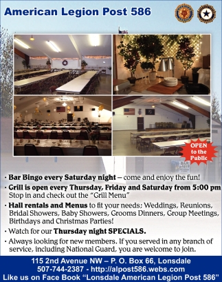Bar Bingo Every Saturday Night, Lonsdale American Legion Post 586, Lonsdale, MN