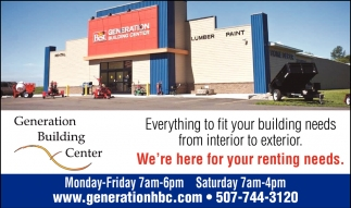 Everything to fit your building needs from interior to exterior, Generation Home & Building Center, Lonsdale, MN