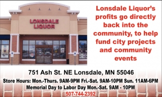 Helping fund city projects and community events, Lonsdale Liquor, Lonsdale, MN