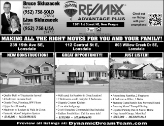 Making all the right moves for you and your family, RE/MAX Advantage Plus: Bruce & Lisa Skluzacek, New Prague, MN