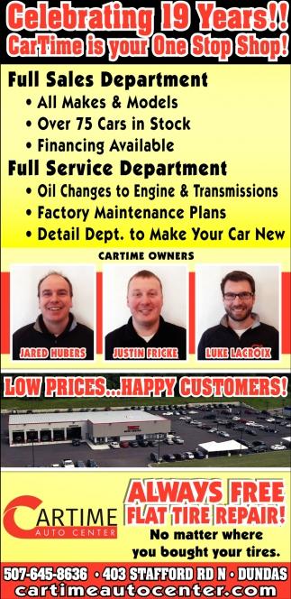 Full sales department - Full service department