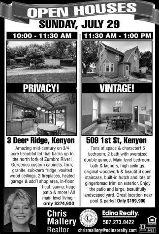 Open Houses -  3 Deer Ridge - 509 1st St.