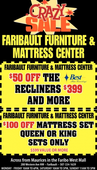 $50 off the recliners, $399 and more