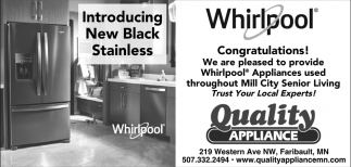 Introducing New Black Stainless, Quality Appliance, Northfield, MN