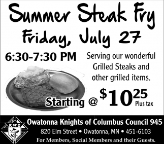 Summer Steak Fry July 27
