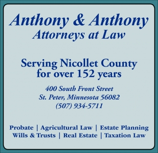 Wills/Trusts, Probate, Estate Planning, Tax Preparation, Real Estate, Anthony & Anthony Attorneys at Law, Saint Peter, MN