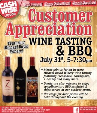 Customer Appreciation Wine Tasting & BBQ