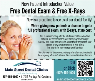 New Patient Introduction Value - free dental Exam & Free X-Rays