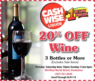 20% off wine - 3 bottles or more