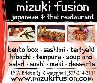 Anese And Thai Restaurant Mizuki Fusion Owatonna Mn