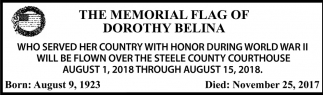 Memorial Flag of Dorothy Belina