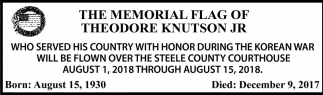Memorial Flag of Theodore Knutson Jr.