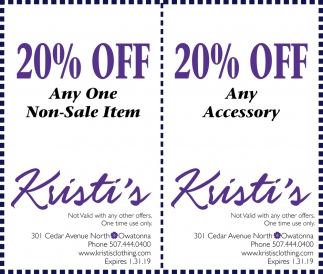 20% off any one non-sale item , Kristi's Boutique, Owatonna, MN