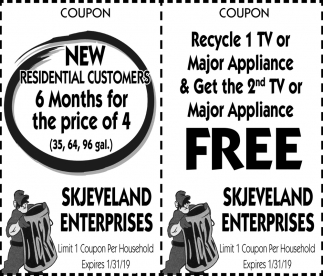 Coupon, Skjeveland Enterprises, Owatonna, MN