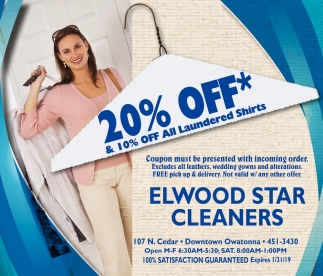 20% off* & 10% off an laundered shirts, Elwood Star Cleaners, Owatonna, MN